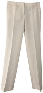 Shanghai Tang Limited Edition Couture Linen Embroidered Trouser Pants white