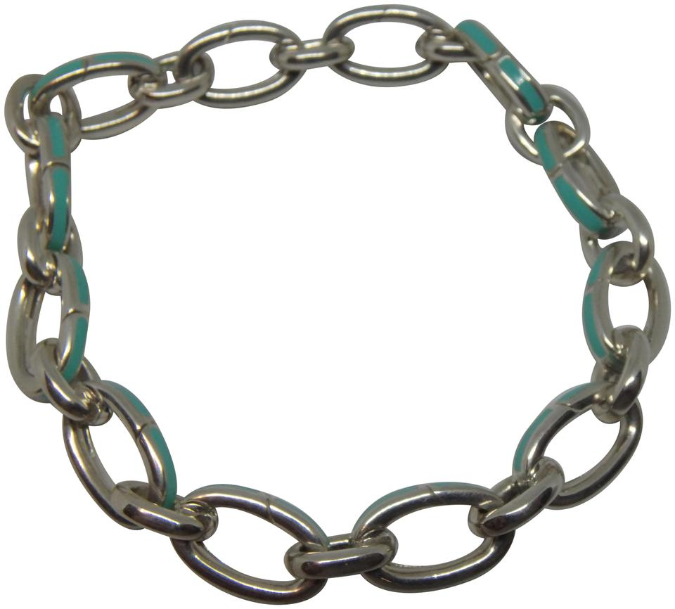 574833419 Tiffany & Co. Blue Sterling Silver Clasping Link Bracelet Charm ...