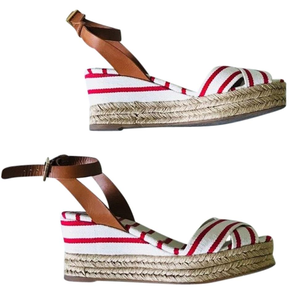 Tory Wedges Burch White & Red Wedges Tory 3b53bd