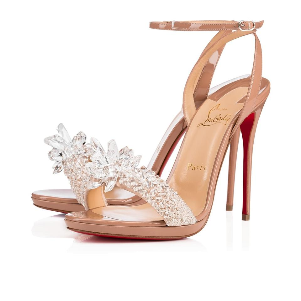 Christian Louboutin Stiletto Classic Ankle Strap Crystal Queen nude Pumps  Image 0 ...
