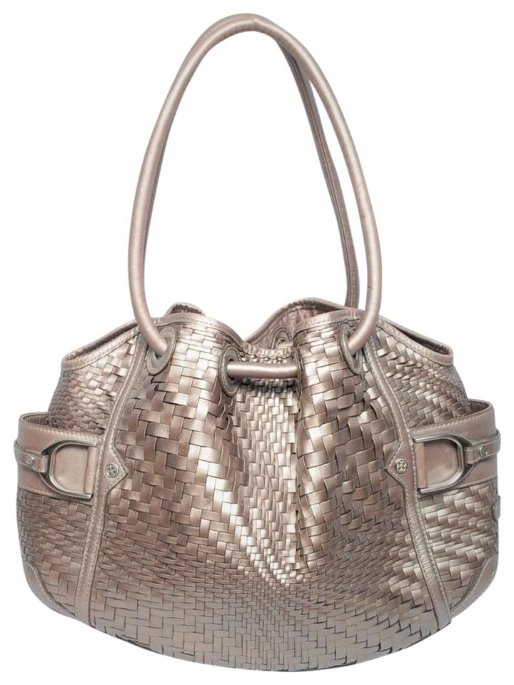 7bec0da333d8 Cole Haan Genevieve Woven Platinum Gold Leather Hobo Bag