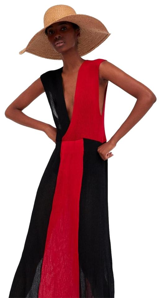 33bc1cdeaa70 Zara Red/ Black Limited Edition (4228) Long Casual Maxi Dress Size 4 ...
