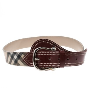 Burberry Burberry Red/Beige Novacheck Vinyl and Patent Leather Belt 80cm