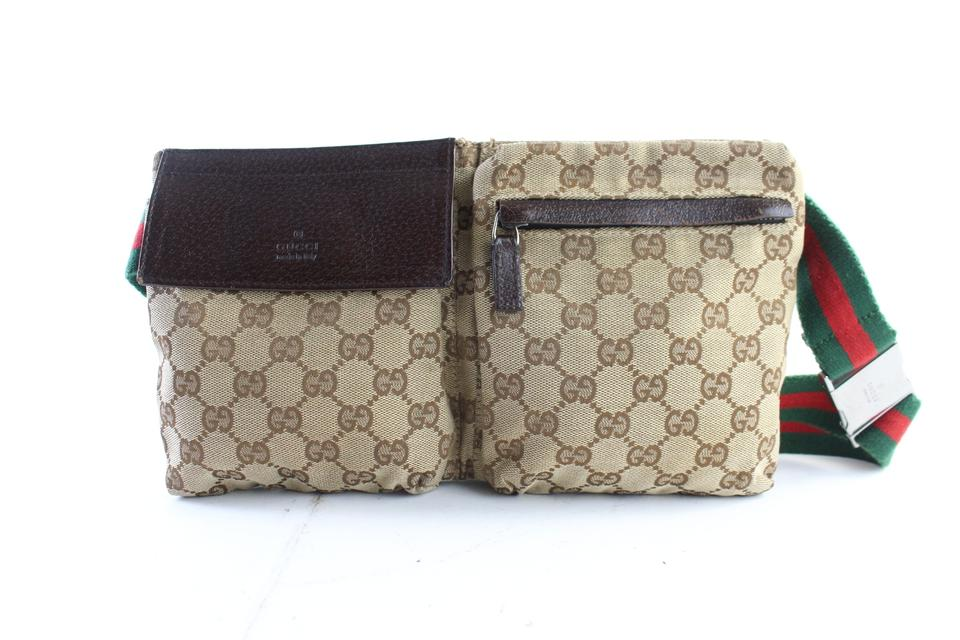 5b03185defb0 Gucci Web Monogram Fanny Pack Waist Pouch 2gr0625 Brown Coated ...
