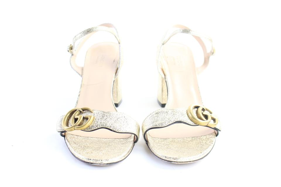 5ff8afb679a Gucci Gold Metallic Laminate Leather Mid-heel 15gr0625 Sandals Size EU 38.5  (Approx. US 8.5) Regular (M