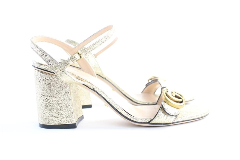 6202a9b8f5e Gucci Metallic Sparkle Marmont Soho Gold Sandals Image 10. 1234567891011