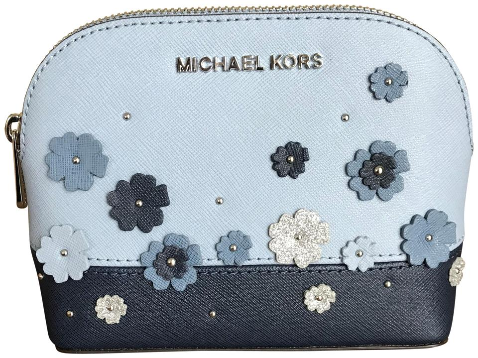 06519aa27a2b Michael Kors Blue Navy Silver Large Travel Pouch Floral Cosmetic Bag ...