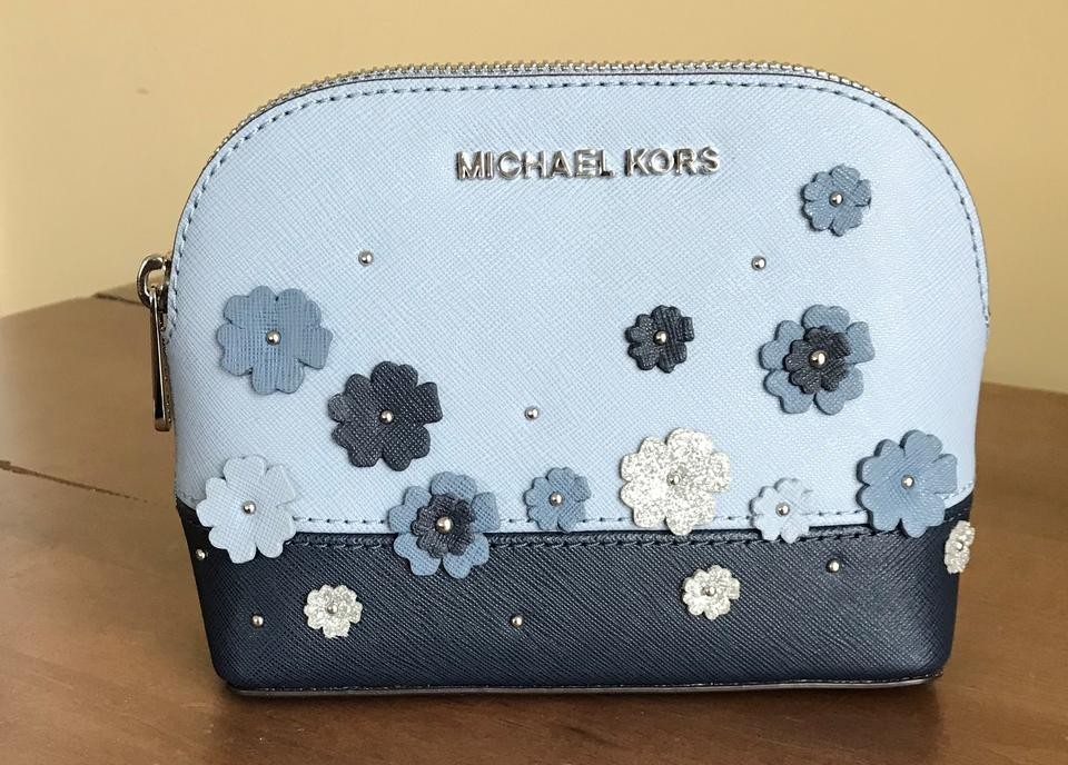 efe24adbbac1 Michael Kors Blue Navy Silver Large Travel Pouch Floral Cosmetic Bag -  Tradesy