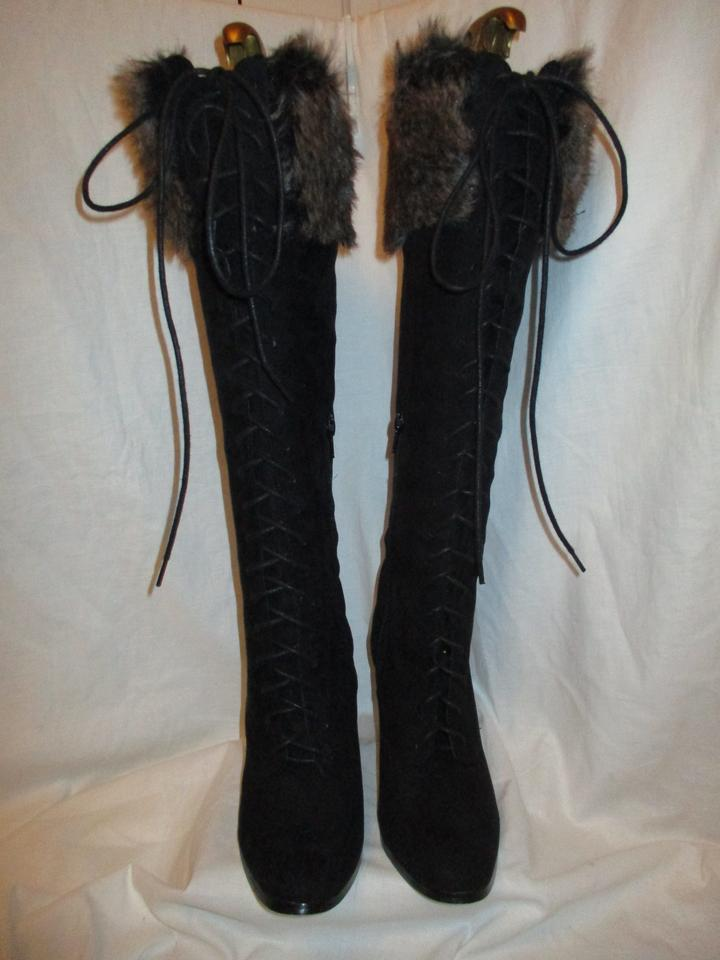 61e75f5b72 JustFab Faux Suede Vegan Tall Faux Fur 001 black Boots Image 11.  123456789101112