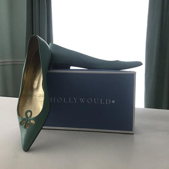 Hollywould Textured Vintage Preppy Turquoise, acqua Flats Image 3