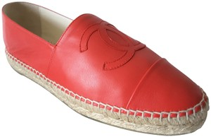 Chanel Espadrilles Leather Red Flats