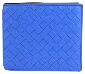 Bottega Veneta Bottega Veneta Blue/Black Leather Woven Bifold Wallet 113993 4365