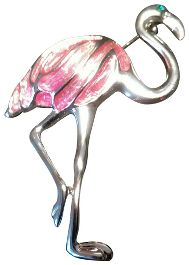 Unsigned Pinkish Acrylic Flamingo & Feathers Silvertone Pin Image 0
