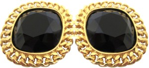Céline Gold Plated Onyx Cabouchon Clip on Earrings
