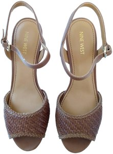 Nine West Leather Cork Strappy Brown Sandals