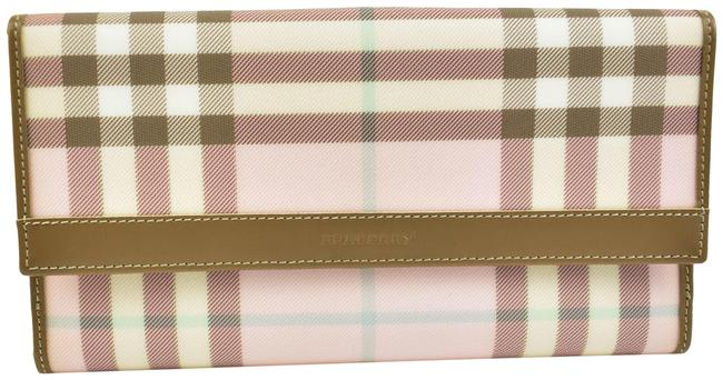 """Item - Pink """"Nova Check"""" & Leather Long Continental (Mm) Wallet"""