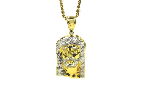 Other 14K Yellow Gold Rope Chain With Jesus Head Pendant Image 1