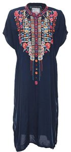 Johnny Was Short Dolman Sleeves Partial Button Front Bold Embroidery Easy Hand Wash Oversized Fit Tunic