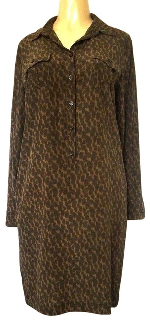 Item - Brown L Weekend By Shift Animal Print Long Sleeve Silk Short Casual Dress Size 12 (L)