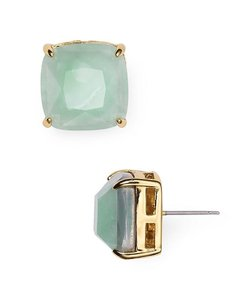 Kate Spade 12K Gold Plated Mint Colored Stone Square Stud Earrings