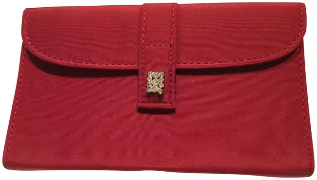 Item - Architectural with Rhinestone Clasp Red Satin Clutch
