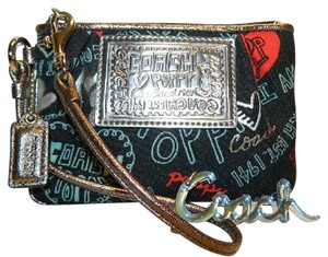 Coach Poppy Rare Wristlet in Red/Black/Silver/Light Blue/Metallic Silver