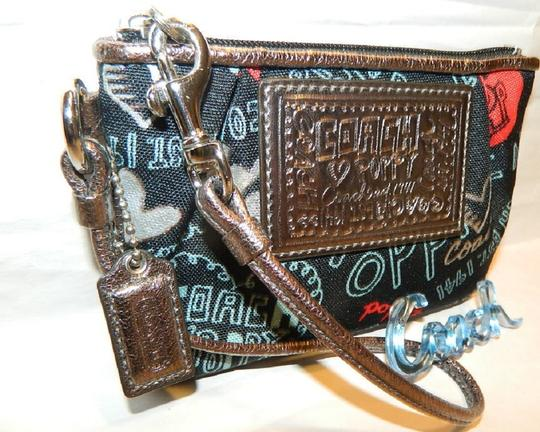 Coach Poppy Rare Wristlet in Red/Black/Silver/Light Blue/Metallic Silver Image 10