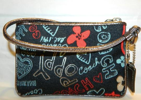 Coach Poppy Rare Wristlet in Red/Black/Silver/Light Blue/Metallic Silver Image 2