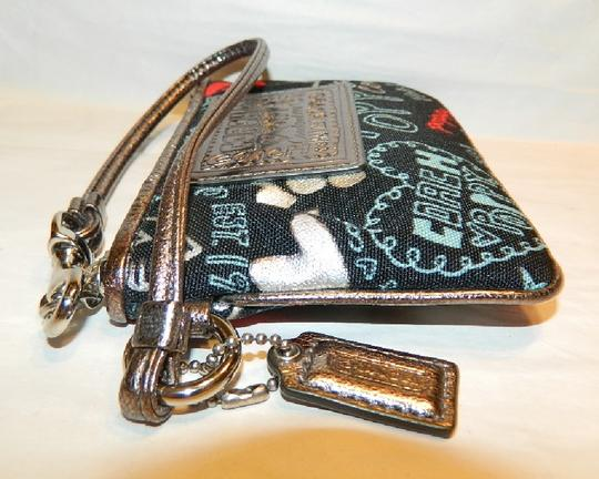 Coach Poppy Rare Wristlet in Red/Black/Silver/Light Blue/Metallic Silver Image 5