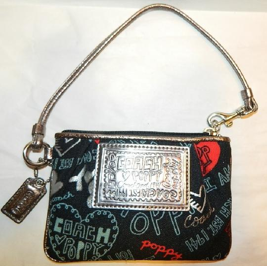 Coach Poppy Rare Wristlet in Red/Black/Silver/Light Blue/Metallic Silver Image 6