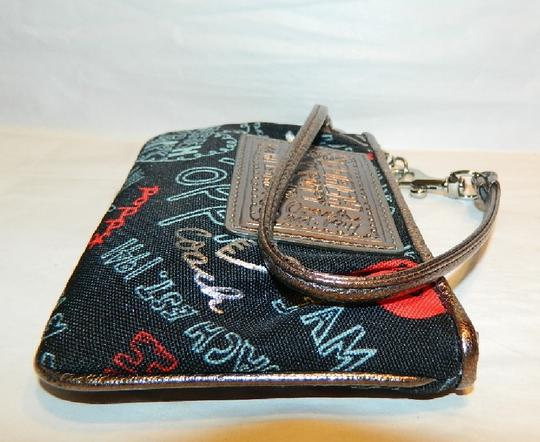 Coach Poppy Rare Wristlet in Red/Black/Silver/Light Blue/Metallic Silver Image 8