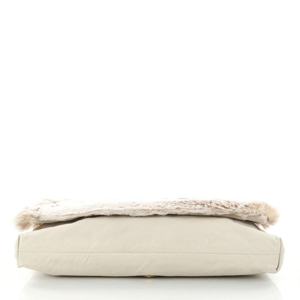 Bone Fur Clutch Prada Faux Oversized 5wXqqFSPx