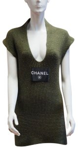 Chanel short dress olive green Knit Cashmere Sweater Ribbed on Tradesy
