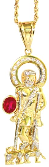 Other 14 KT. Yellow Gold Rope Chain With Cubic Zirconia Jesus Pendant Image 0