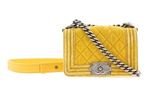 Chanel Boy Cc Velvet Flap Mini Cross Body Bag
