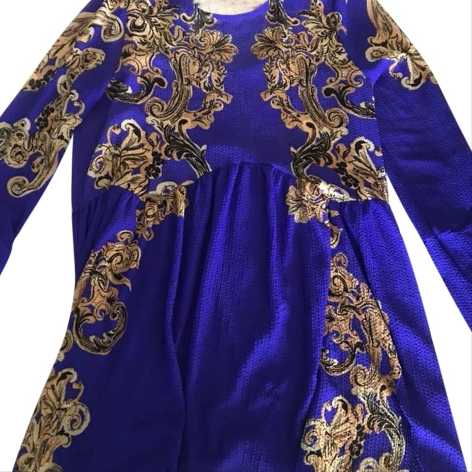 4f7388b6b9c7 Free People Royal Blue/Purple and Gold Printed Symphony Slip Tunic ...