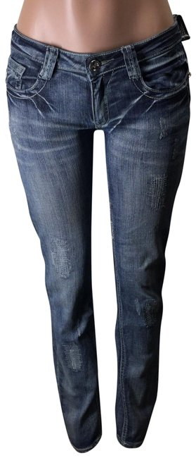 Machine Blue Distressed Rise Skinny Jeans Size 31 (6, M) Machine Blue Distressed Rise Skinny Jeans Size 31 (6, M) Image 1