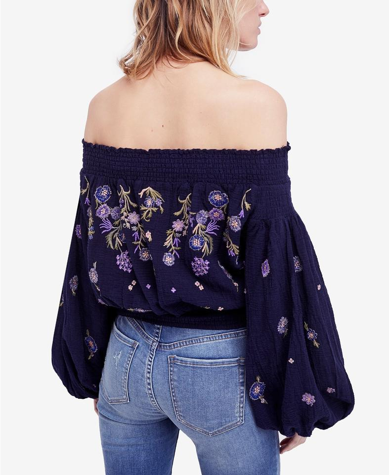 62e3be59629 Free People Smock Embroidered Off The Shoulder Elastic Longsleeve Top black  Image 11. 123456789101112