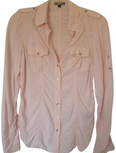 Express Long Tab Sleeve Cinched Button Front Rayon Button Down Shirt Soft Pink