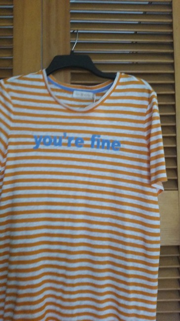 Tory Burch Embroidered Linen T Shirt Orange Image 2