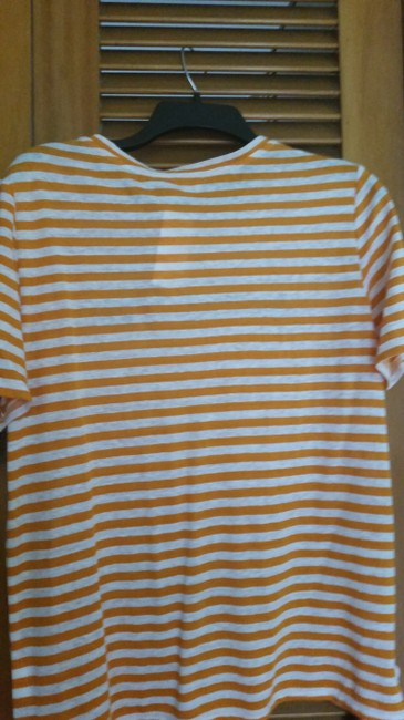 Tory Burch Embroidered Linen T Shirt Orange Image 3