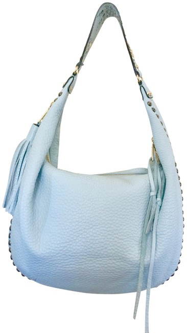 Item - Shoulder Embellished Large Tassel Light Blue Pebbled Leather Hobo Bag