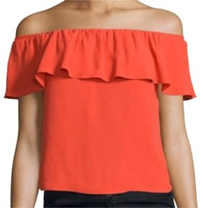 Veronica Beard Off The Shoulder Ruffle Top Poppy Red