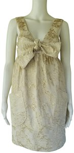 Vera Wang Lavender Label Brocade Pockets Empire Waist Shift Dress