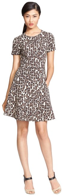 Item - Beige-brown (Nwt) Autumn Leopard Flared Mid-length Cocktail Dress Size 2 (XS)