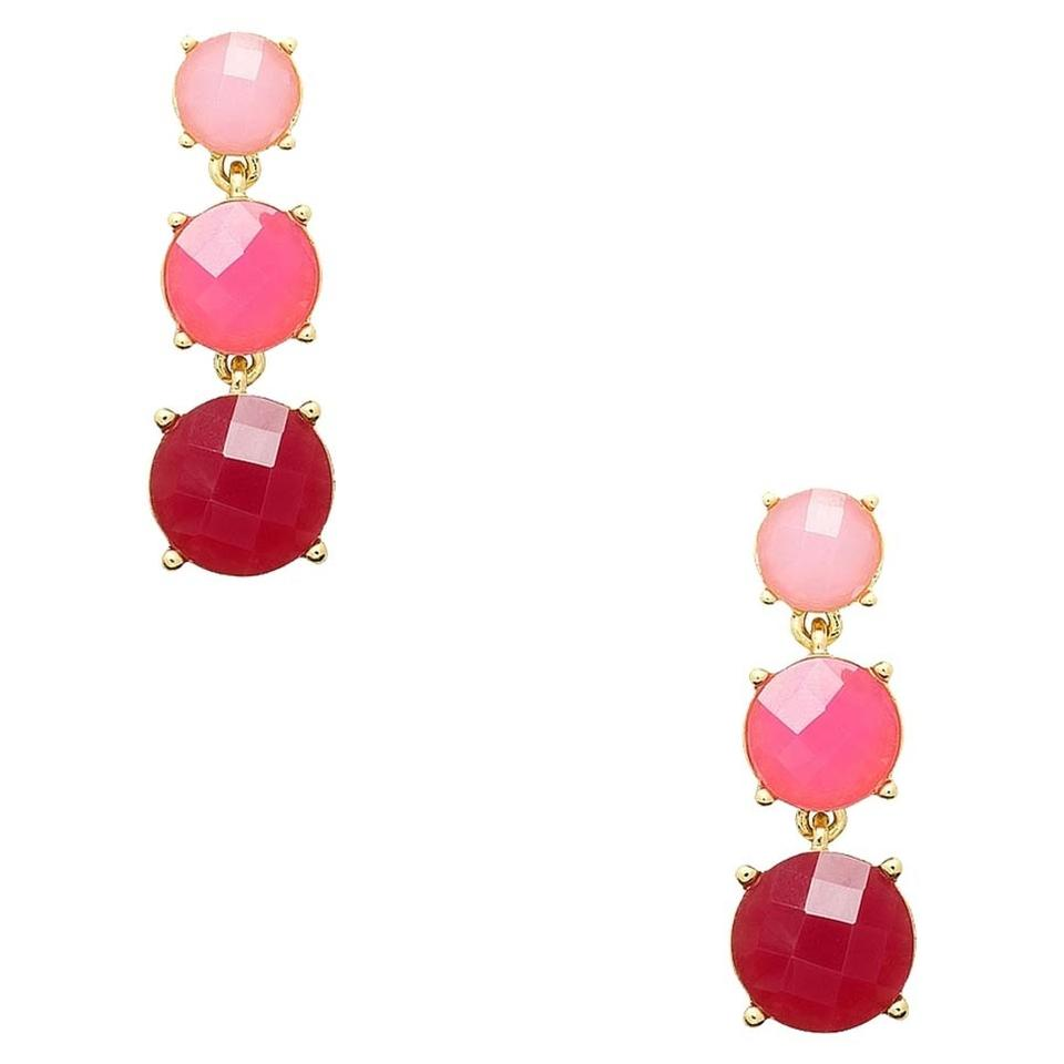 Kate Spade New York Silver Smell The Roses Linear Pink Earrings