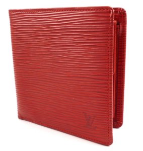 Louis Vuitton Red Epi Leather Wallet Marco Bifold Lv Monogram Men's Jewelry/Accessory