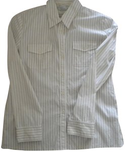 Norm Thompson Pin Stripe Long Sleeve Button Front Button Down Shirt White
