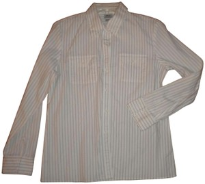 Norm Thompson Pin Stripe Long Sleeve Button Front Blouse Career Button Down Shirt White