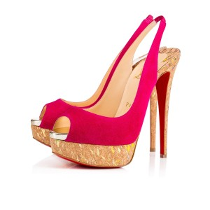 Christian Louboutin Peep Toe Lady Peep 150mm Suede Pink Pumps